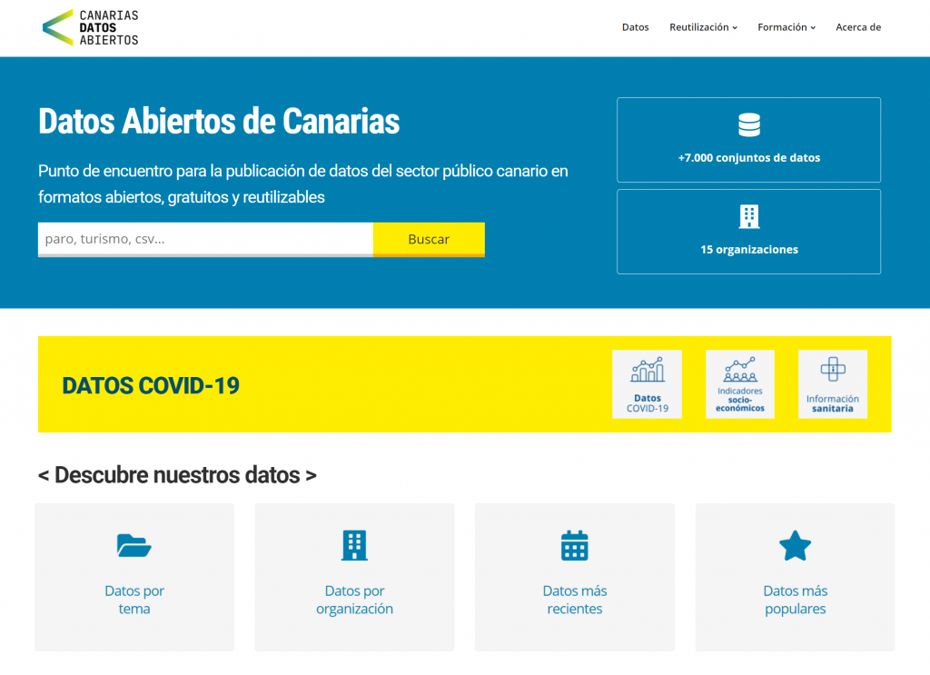 Nueva web Canarias Datos Abiertos