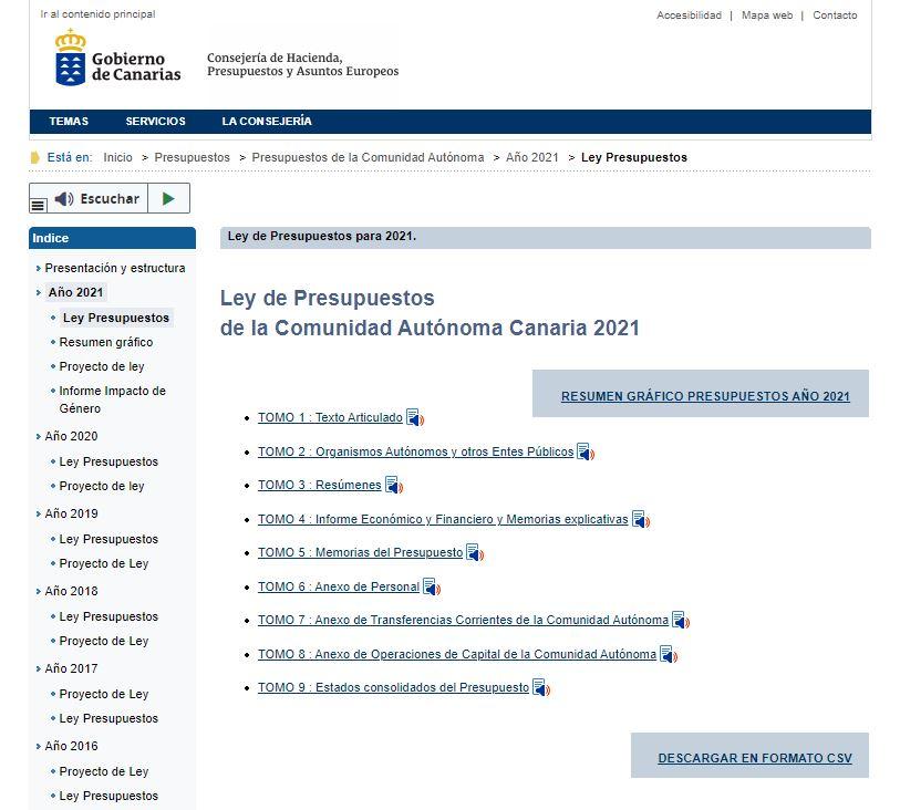 Ley de Presupuestos de la Comunidad Autónoma de Canarias 2021