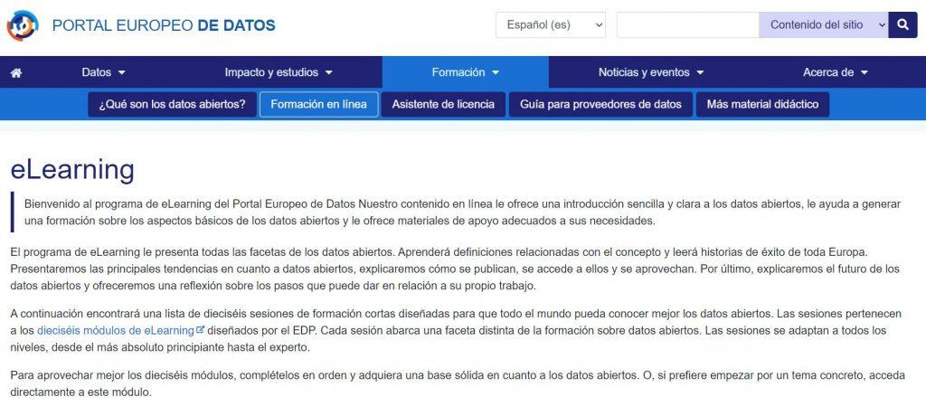 eLearning | Portal Europeo de Datos